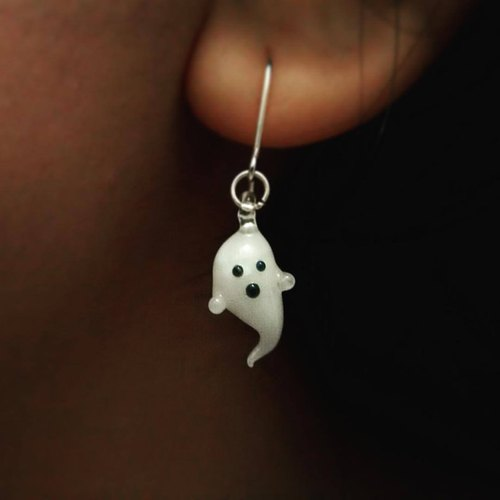 Handmade glass ghost earring with 925 sterling / clip on earrings