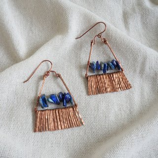 Handmade copper earrings natural lapis lazuli summer fringe vacation hippie wind customized products