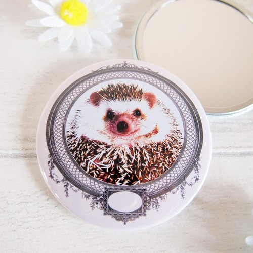 Hedgehog cosmetic mirror,Hedgehog pocket mirror,Hedgehog gift,Stocking Filler Gift Idea,For hedgehog lover, Hedgehog mirror,Pink