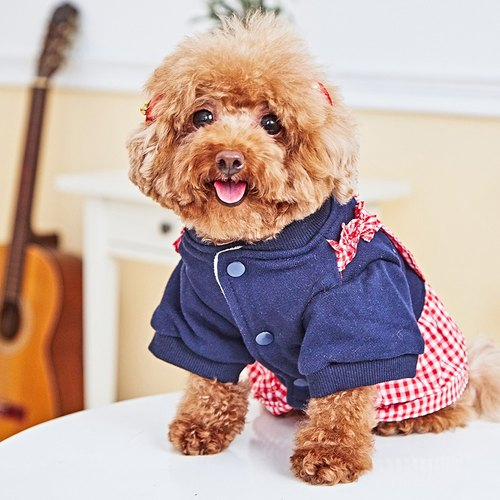 Pet clothes Two-piece checkered dress