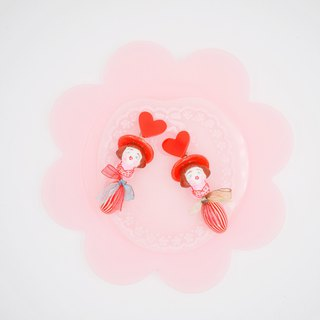 Love cute red hair girl earrings ear clips