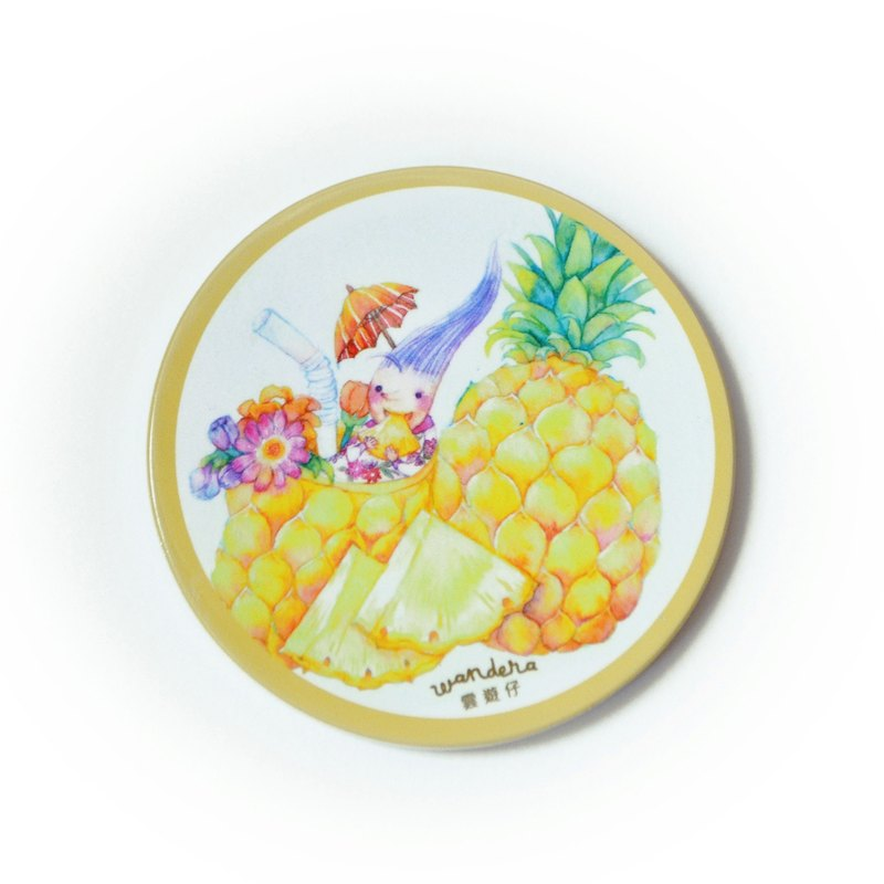 【Watercolor illustration ceramics coaster】Pineapple . A Lover of Fruit
