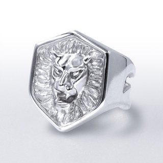 Roaring lion shield styling sterling silver male ring (can be fine-tuned)