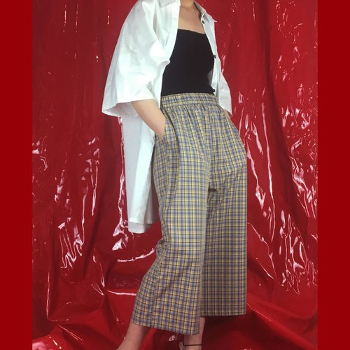 Original summer khaki plaid casual wide leg pants