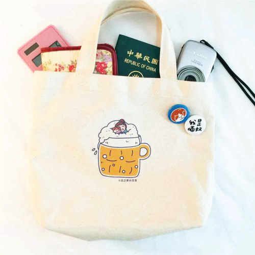 Micro-醺 everyday canvas bag (lunch bag) Double-cup beverage bag hand-printed Canvas bag