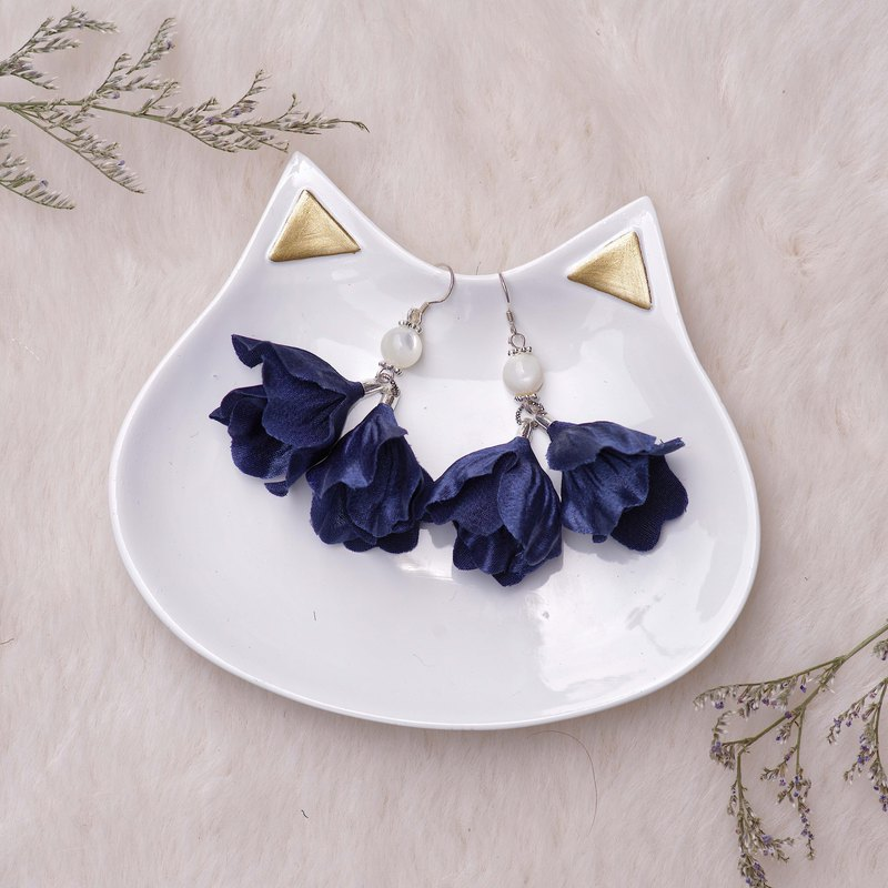 Stella | Dangle Golden Plating Floral Earrings - Fabric flower gifts
