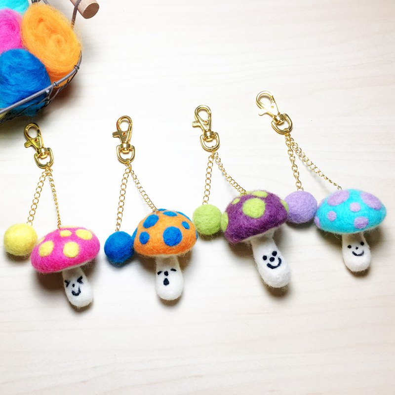 (with film teaching) colorful smile mushroom key ring wool felt material package