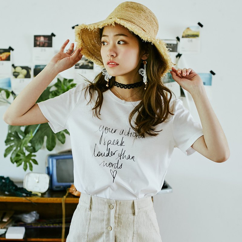 Annie Chen 2018 summer new literary women's personality font printing T-shirt