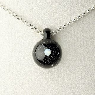 Black Planet Handmade Lampwork Glass Sterling Silver Necklace