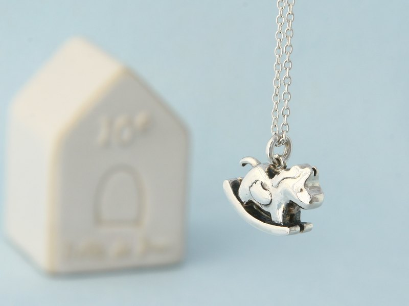 My Sweetie hand-made sterling silver necklace / rocking horse / handmade silver necklace rocking horse