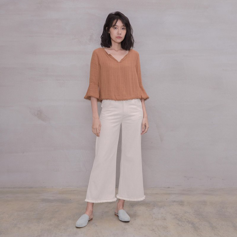 Free casual tassel wide pants Free The Soul Tassel Trousers