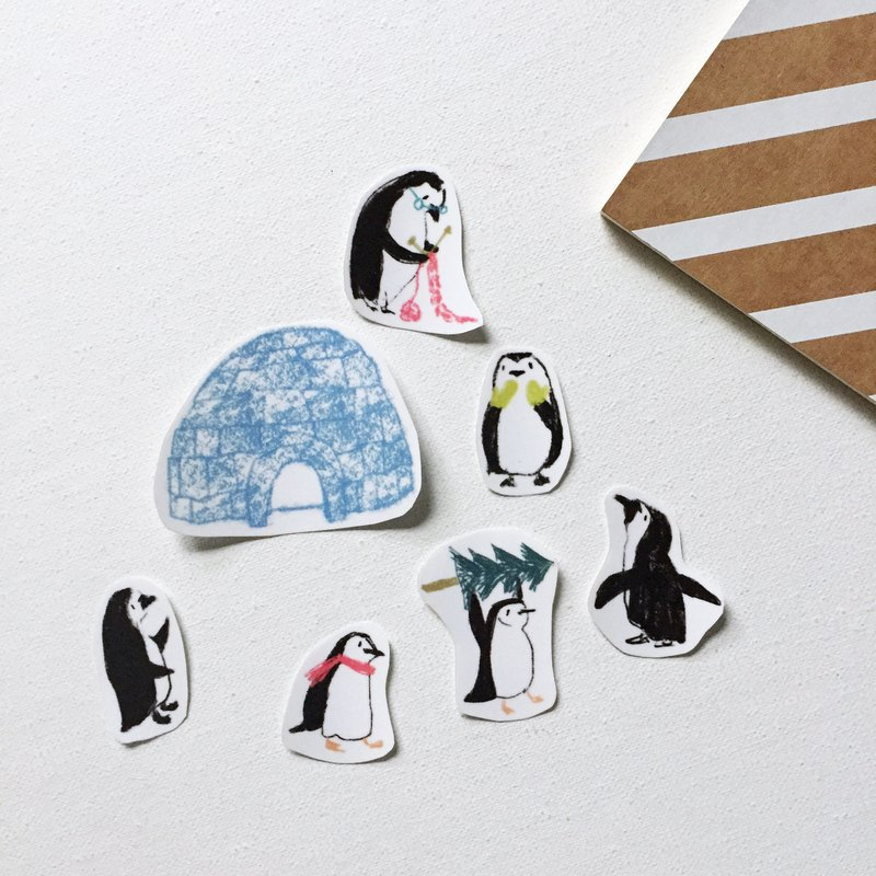 Penguin stickers igloo stickers playing wool little Penguin hand-cut transparent sticker pack a pack of 7 into