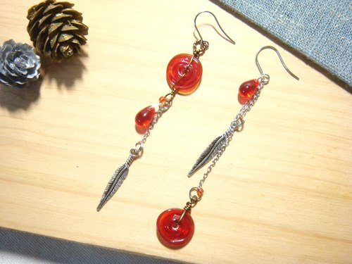 Grapefruit forest hand-glazed - fine weaving fine - long earrings - (can be increased clip-free increase) asymmetric design models