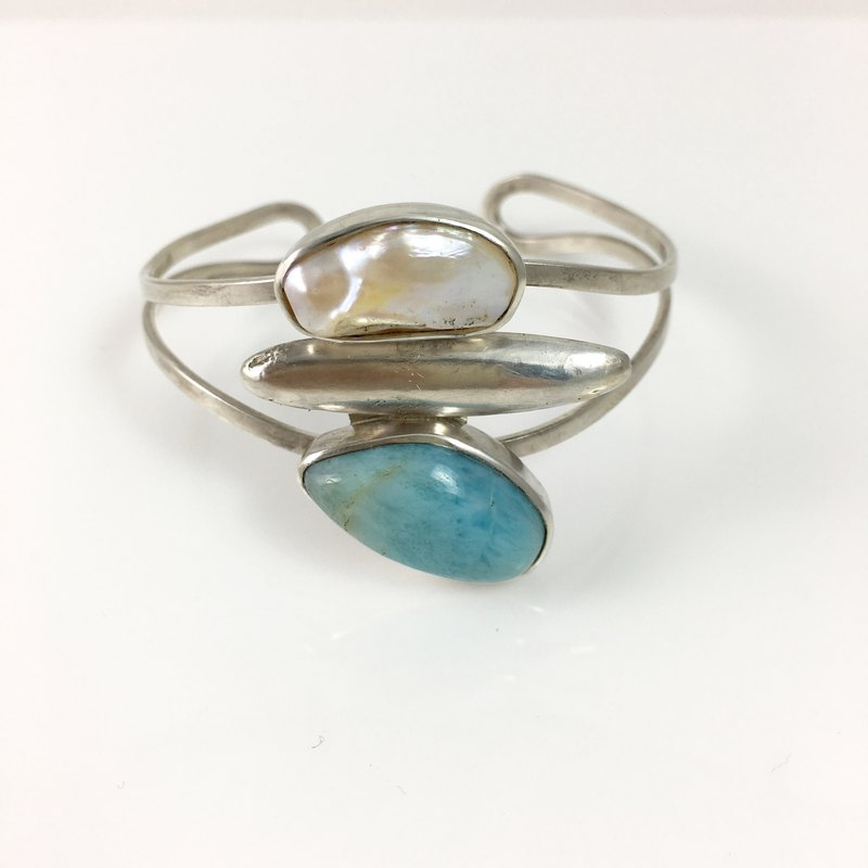 Natural gemstone Larimar/Pearl Sterling Silver Bangle