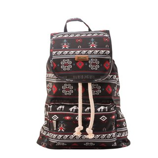 SOLUNA [ Folk style Series ] Drawstring Backpack(Black Trojan)