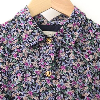 Japanese made retro dark blue floral thin long-sleeved vintage dress Vintage Dress