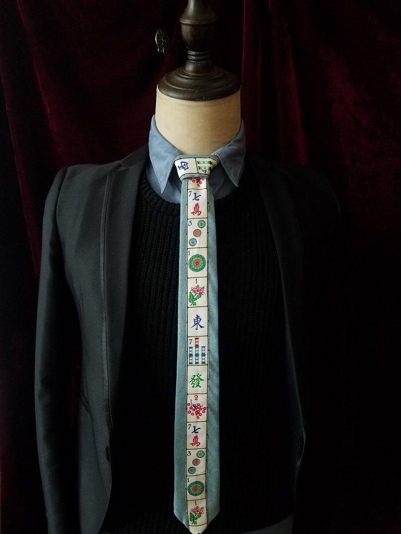 果綠色麻將拼色領帶小清新趣味領帶