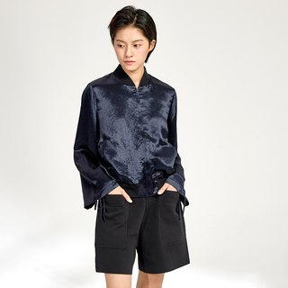 G果GAOGUO original design acetate wide-sleeved autumn sports thread stand collar flying jacket zipper short coat