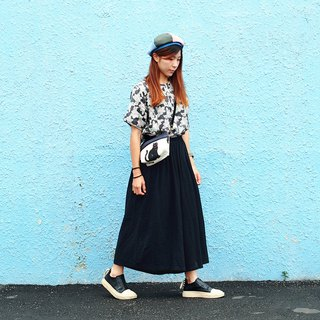 Maverick Village ultra-light cotton and linen slim face wide pants [wild black pants skirt] J-42