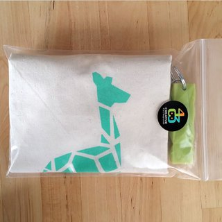 Limited Origami Animal Portable Canvas Bag + Apple Green Key Ring // Geometric Green Giraffe Pattern