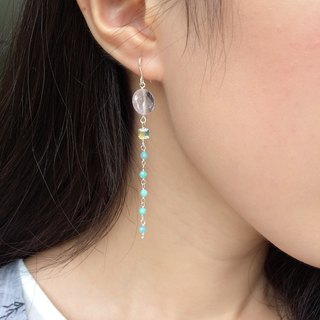925 silver-rose quartz & Austrian crystal-simple amazonite earrings