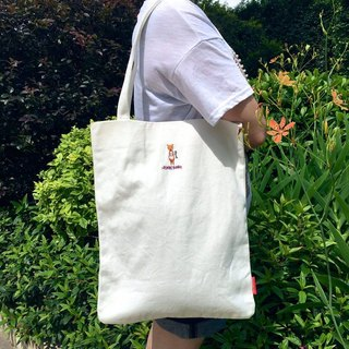 The. Playing. Forest-Pharrell Embroidery Canvas Tote (White)