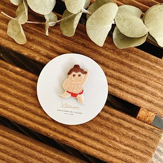 Littdlework Mini Embroidered Badge | Neckline Chapter | Sumo Wrestler
