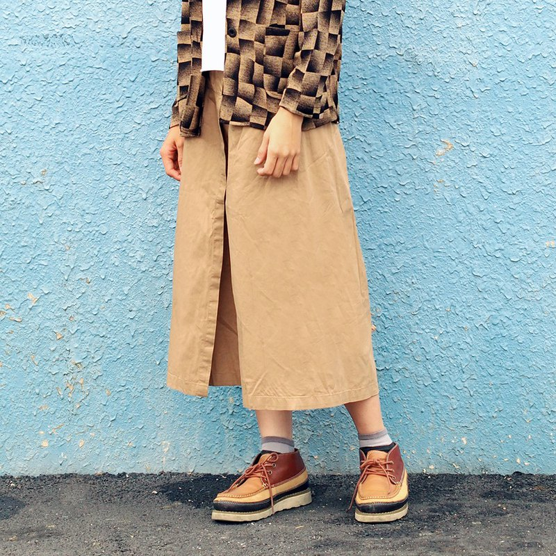 Maverick Village hand-style version of the trousers skirt wild [painter wide pants] khaki C-14