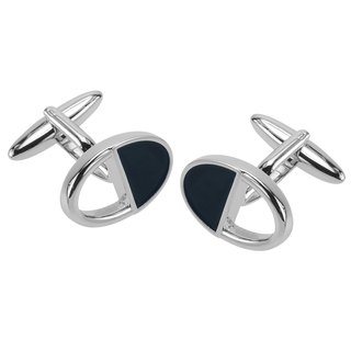 Dark Blue Enamel Cutout Oval Cufflinks