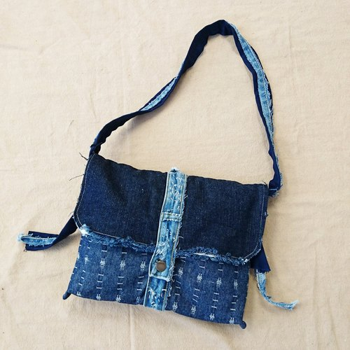 Store promotions handmade frayed denim fringed edge styling shoulder / backpack only a single