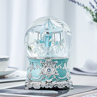 Tiffany Blue Playground Crystal Ball Music Box Birthday Gift Home Furnishing Valentine's Day Gifts Sky City