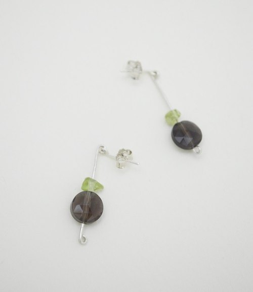 Untitled-Smoky Quartz‧Olivine‧Silver Earring