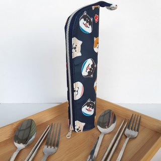 Shiba Inu (blue) Waterproof Cutlery Bag Birthday Exchange Gifts Picnic Go Out Green Small Things