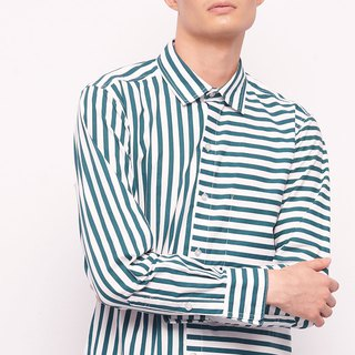 Stone@s Printed Shirts In Green / Green Stripe Shirt