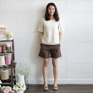 Square neck Short Sleeve blouses with Little Pockets Natural Color Cotton.