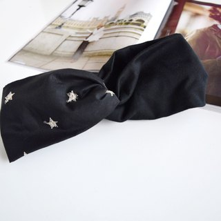 star embroidery pattern x black hairband