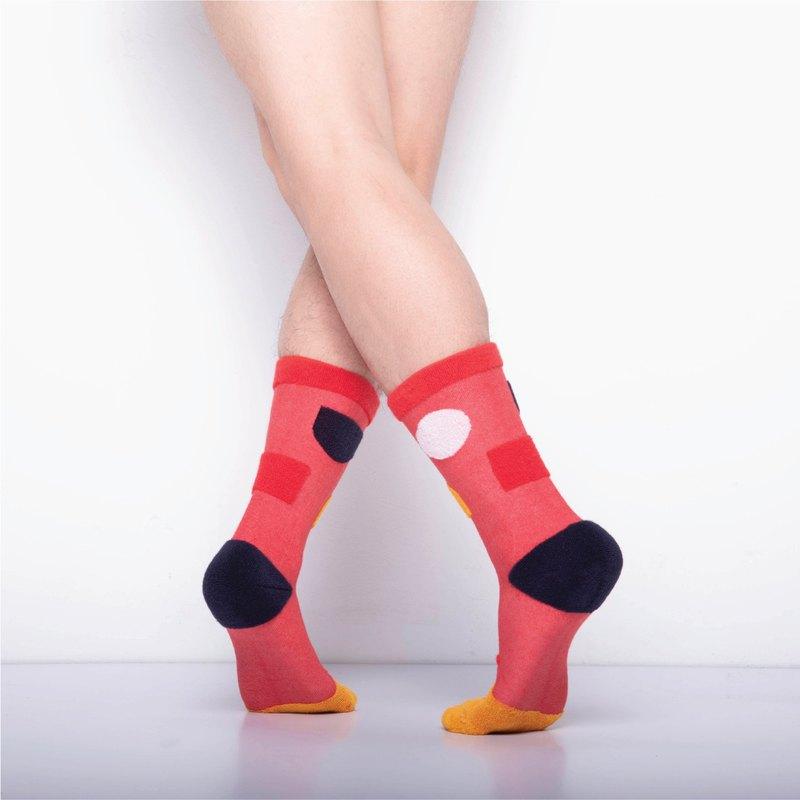 內在美系列 - 寧 鮮紅色 雙面中筒襪 Reversible Socks