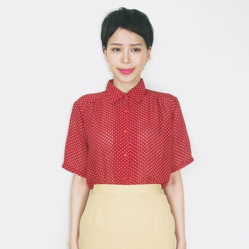 Little white on red chiffon vintage short sleeve shirt AP4020