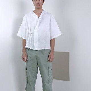 Shōto Linen Baseball Top -White