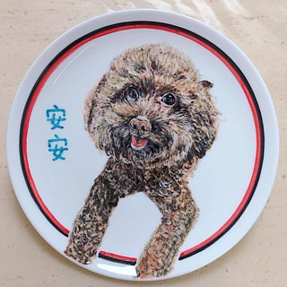[Customized] 7-inch hand-painted porcelain cats and dogs pet rabbit / holder attached station