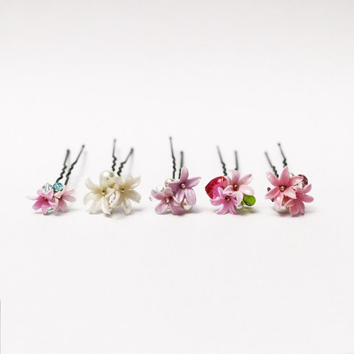 Handmade Resin Clay Floral Hair Pin - S