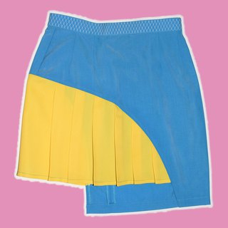 Giz Blue x Yellow Asymmetric cutting skirt