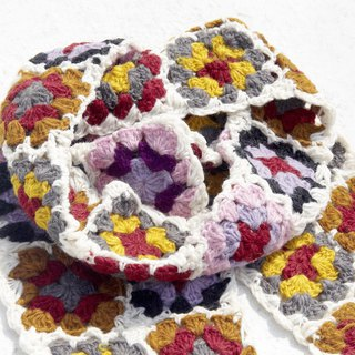 Christmas gift exchange gifts limited a handmade crocheted wool scarves / flowers crocheted scarves / crocheted scarves / hand-knit scarves / flowers woven stitching wool scarves - colorful flowers of the Nordic Forest wind scarves