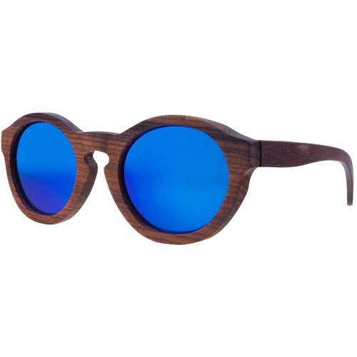 Plantwear European Handmade Solid Wood Sunglasses - Retro Series - Rose Solid Wood Frame + Camouflage Blue Lens