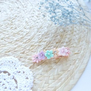 Hair Accessories - Pastel color flowers hairclips (Orange)