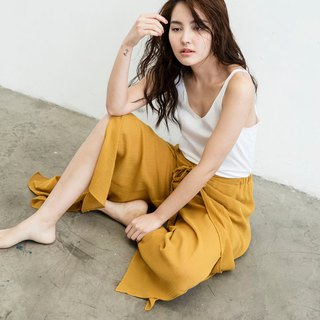 Front strap open trousers - mustard