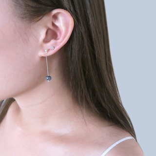 Black Hair Crystal Light Ear (Large) - 925 Sterling Silver Natural Stone Earrings