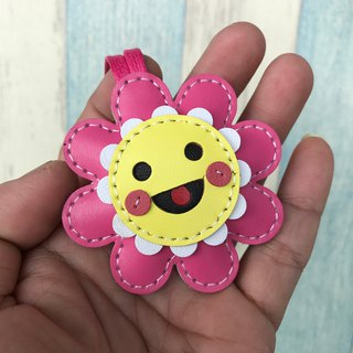 Small Size - Leatherprince sunflower leather charm - pink