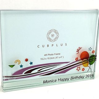 4R Crystal Glass Photo Frame - Balloon ( including engraved names & date )