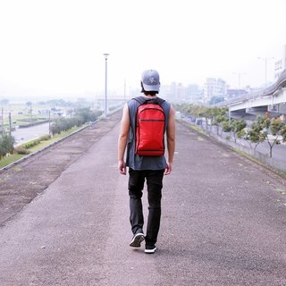 Functional minimalism red backpack after ZIRCON